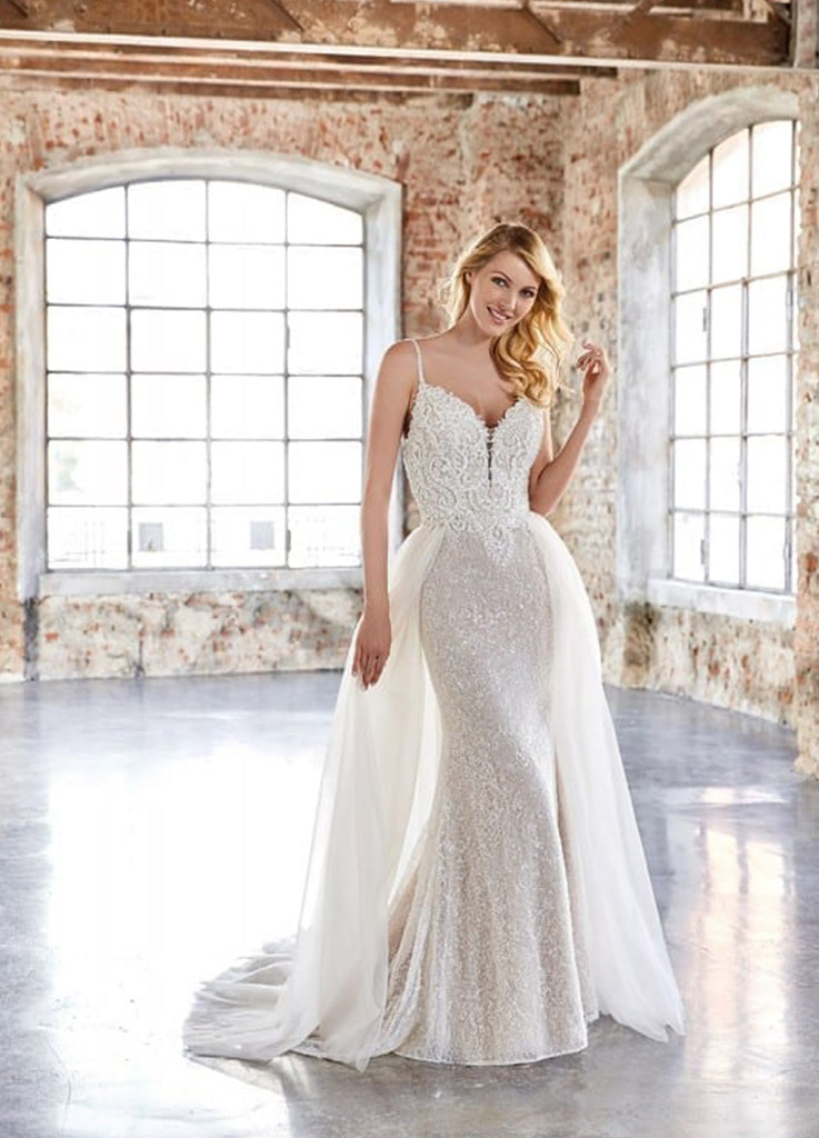 The Orchid dress by Eddy K Bridal with optional train