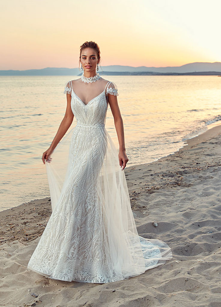 The Rene dress by Eddy K wedding dresses with cape