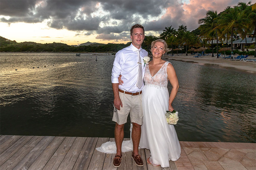 Kelly's Beautiful Beach Wedding Wearing Justin Alexander. Desktop Image